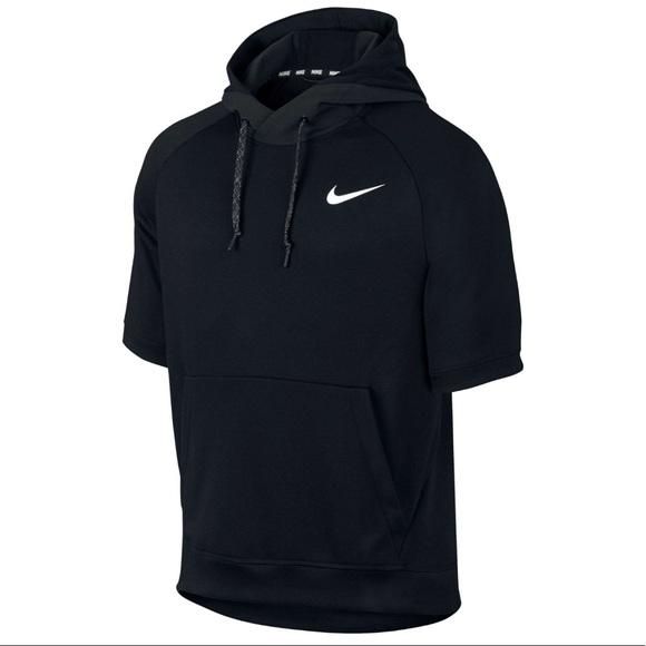60482bdb1 Nike Tops | Drifit Short Sleeve Hoodie In Black | Poshmark